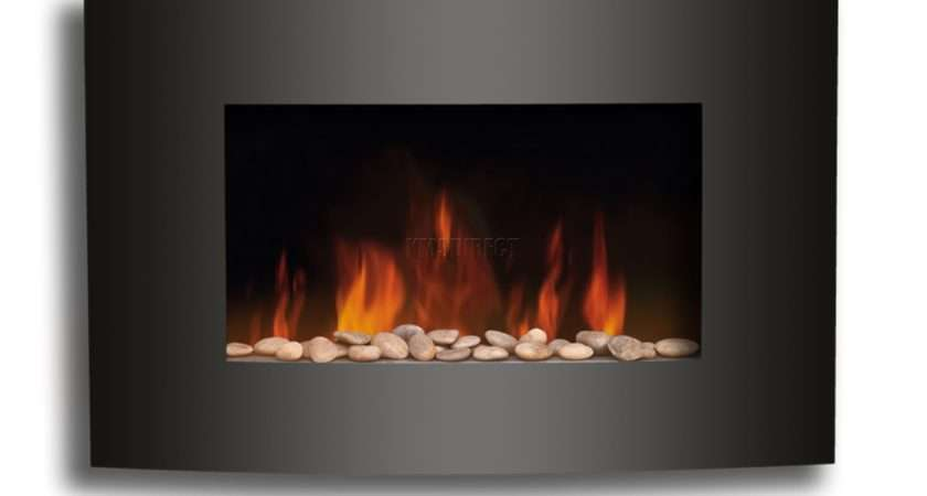 Fire Fireplace Black Curved Glass Heater Flame Effect Wall Mounted