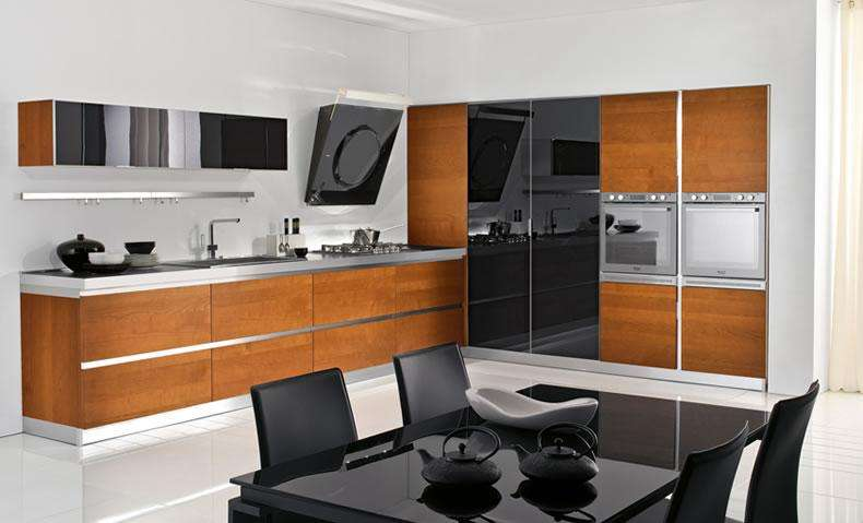Flat Panel Cherry Wood Kitchen Cabinets Bath Town