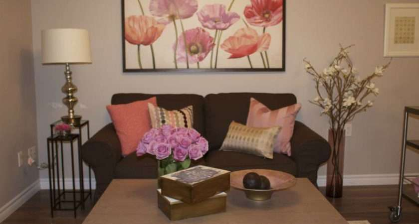 Flower Room Decor Pink Living Cocoon Shaped Couch Brown Sofa