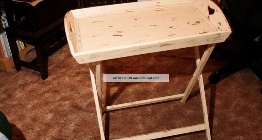Folding Butler Tray Table Stand Vintage Country Serving Post
