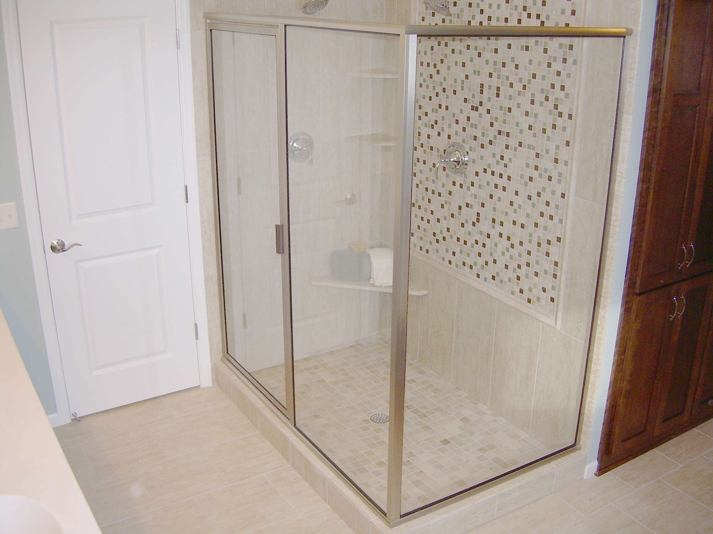 Framed Shower Enclosure Glass Panels White Wooden Bathroom
