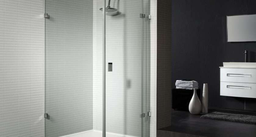 Frameless Glass Shower Enclosure Featuring Hinged Door