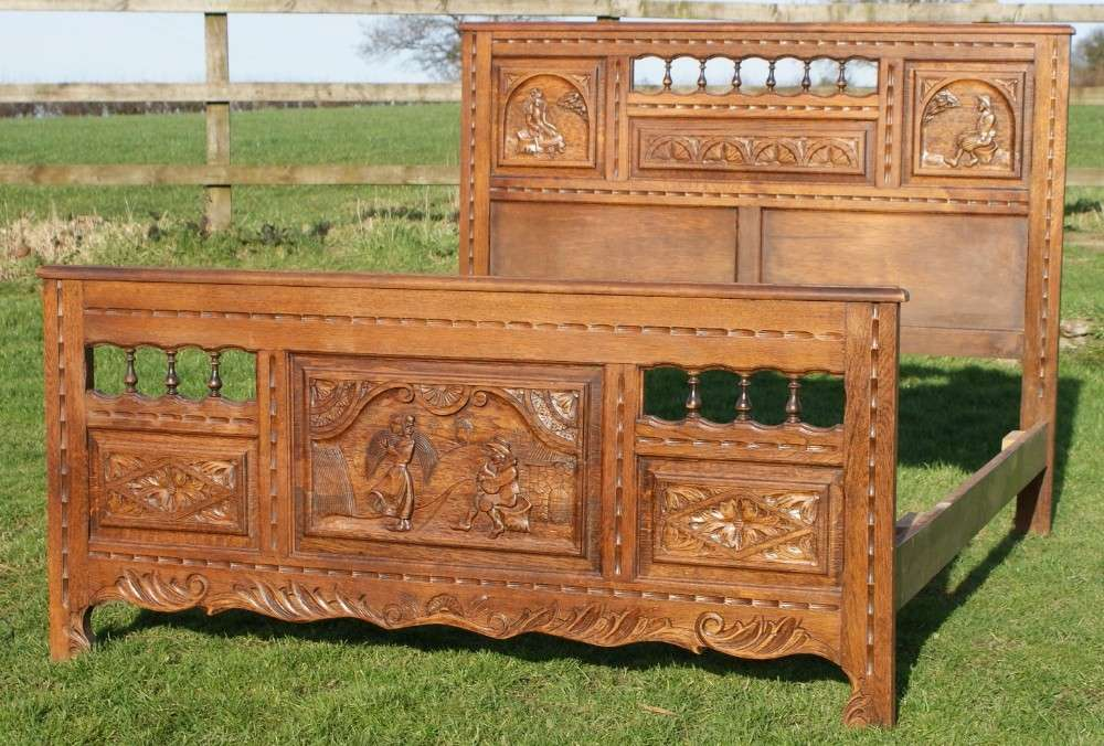 French Bretton Carved Double Bed Sellingantiques
