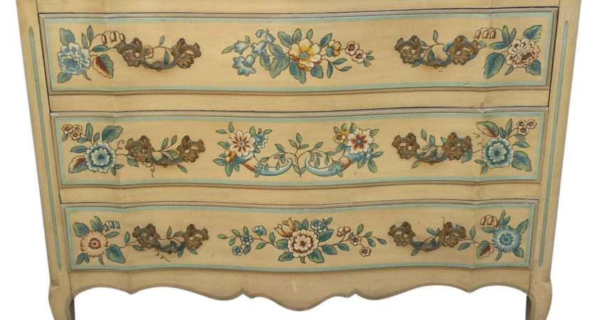 French Chest Dresser Floral Painted Drawers