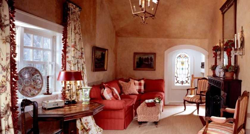 French Country Living Room Red Theme Sofa Chairs