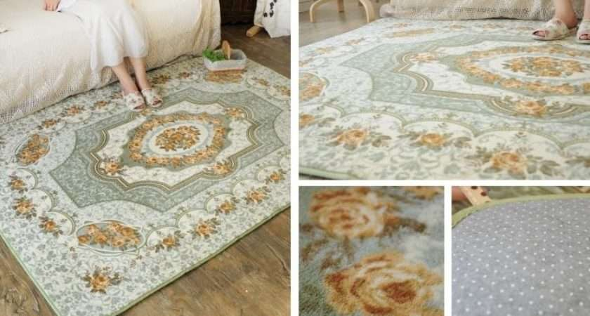 French Country Victorian Floral Green Living Bedroom Floor Mat Rug
