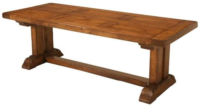 French Oak Trestle Dining Table Two Leaves Sale