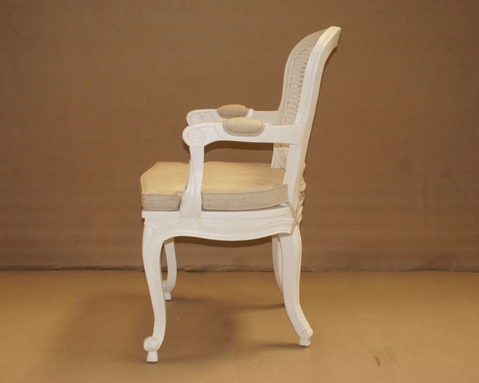 French Oval Cane Back Armchair White Armchairs