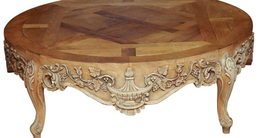 French Provincial Round Oak Cocktail Table Stdibs