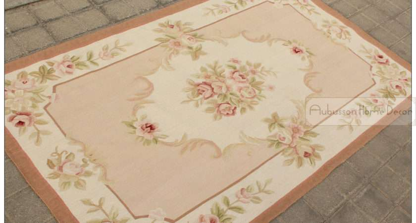 French Style Aubusson Area Rug Carpet Pink Ivory Reliable