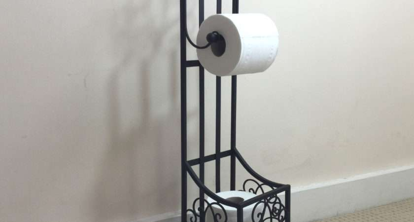 French Vintage Style Black Standing Toilet Roll