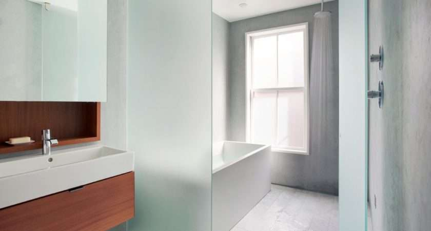 Frosted Glass Partitions Bathroom Contemporary