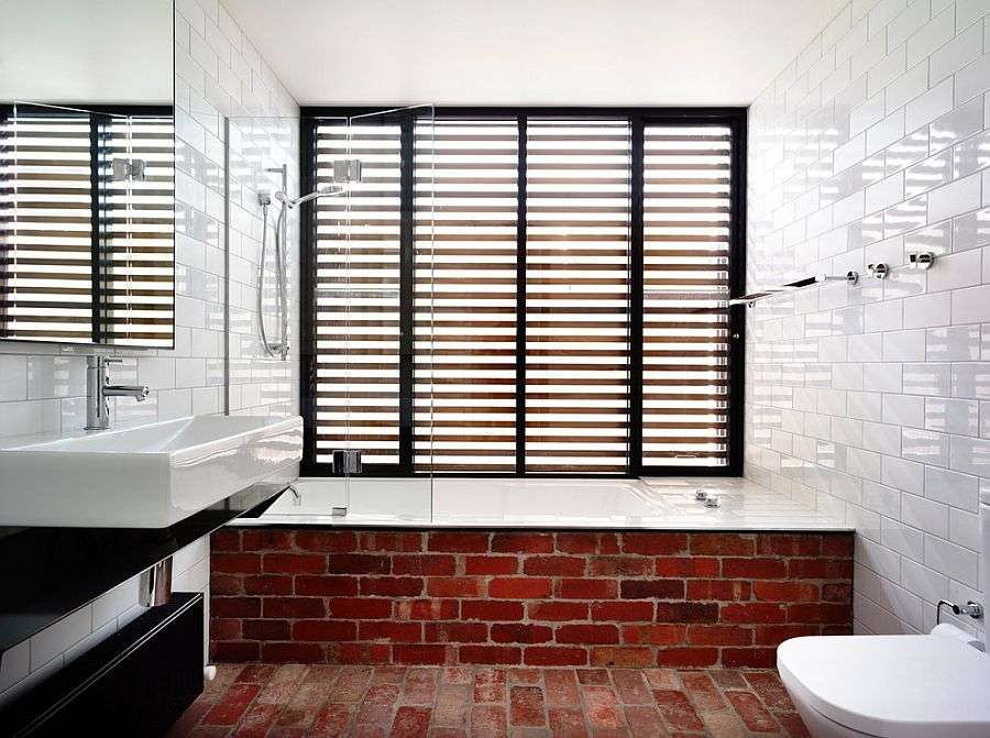 Fun Way Showcase Exposed Brickwork Modern Bathroom Design