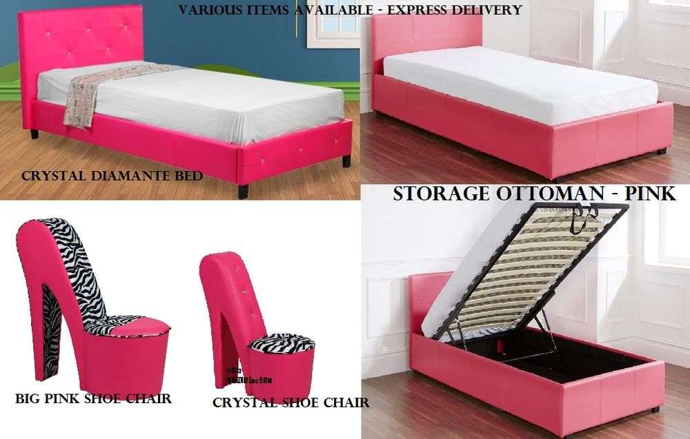 Funky Pink Bedroom Furniture Ottoman Storage Diamond Beds Shoe Chairs