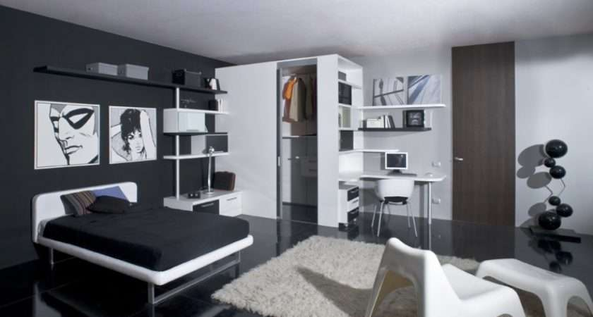 Funky Pleasant Black White Themed Teen Bedroom