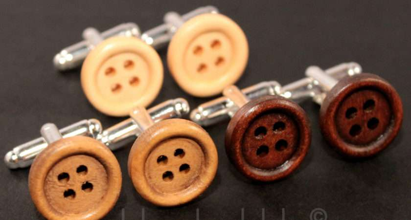 Funky Wooden Button Cufflinks Vintage Style Dads Gift