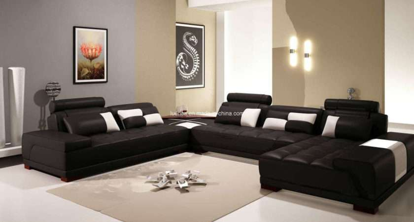 Furniture Glamorous Leather Chesterfield Sectional
