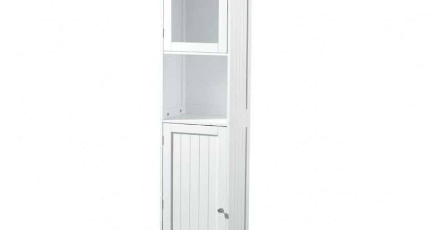 Furniture White Wooden Tall Standing Bathroom