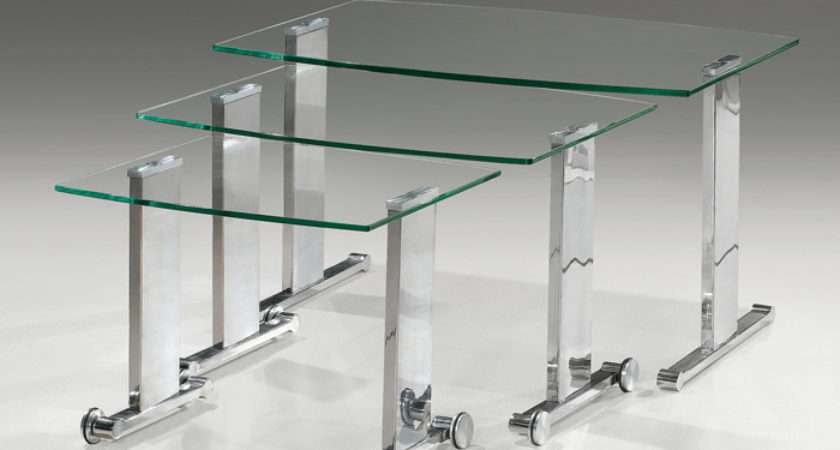 Geo Glass Clear Chrome Mobile Nest Tables