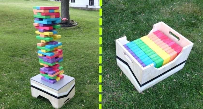 Giant Jenga Set Life Stained