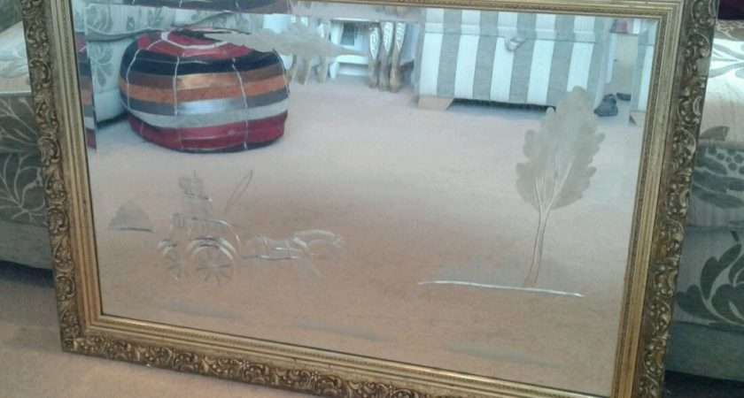 Gilt Framed Decorative Etched Glass Bevelled Edged Wall Mirror Ebay