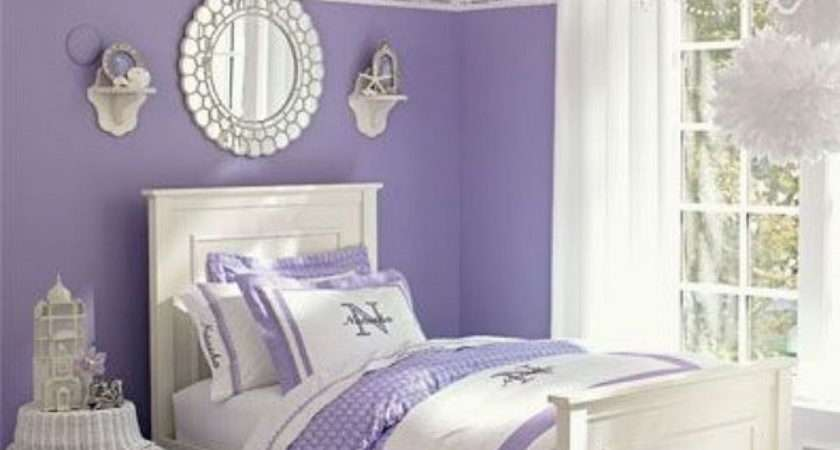 Girl Dreamy Bedroom Paired Bright White Color Lavender