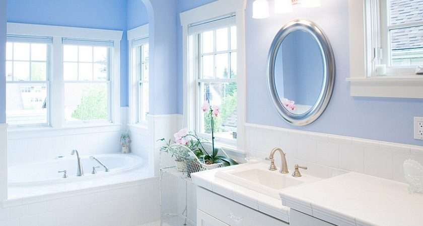 Gorgeous Bathroom Blue White Round Mirror Above Sink