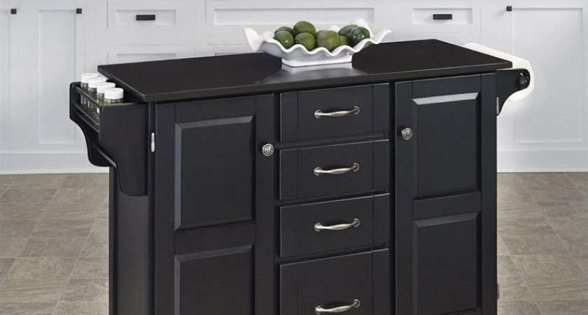 Granite Top Kitchen Cart Black
