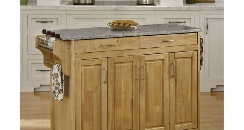 Granite Top Kitchen Cart Natural