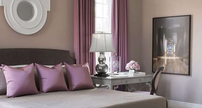 Gray Bed Purple Pillows Contemporary Bedroom