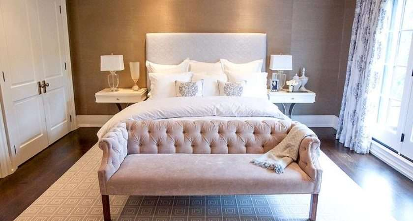Gray Pink Bedroom Velvet Tufted Settee Pasiley Curtains