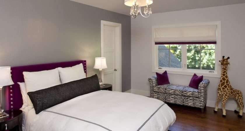 Gray Purple Room Traditional Bedroom
