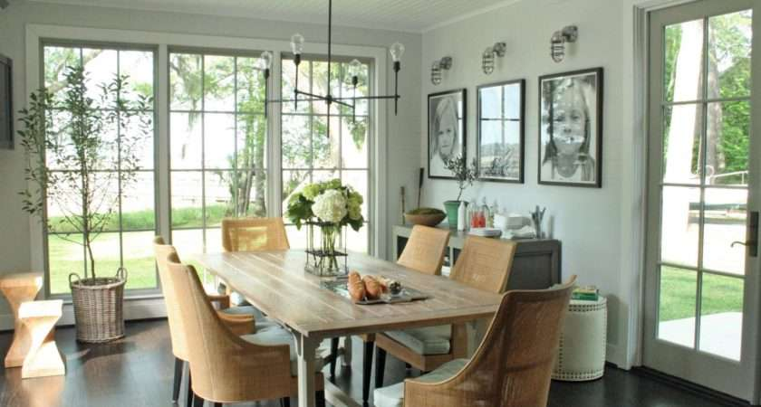 Gray Transitional Dining Room Wood Farmhouse Table