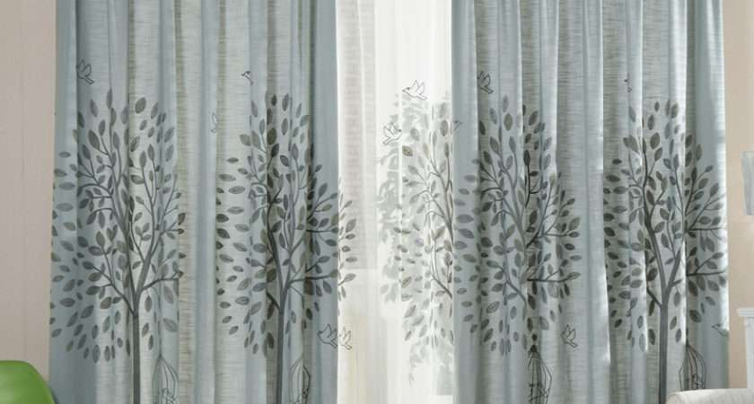 Gray Tree Embroidery Linen Cotton Blend Country Living