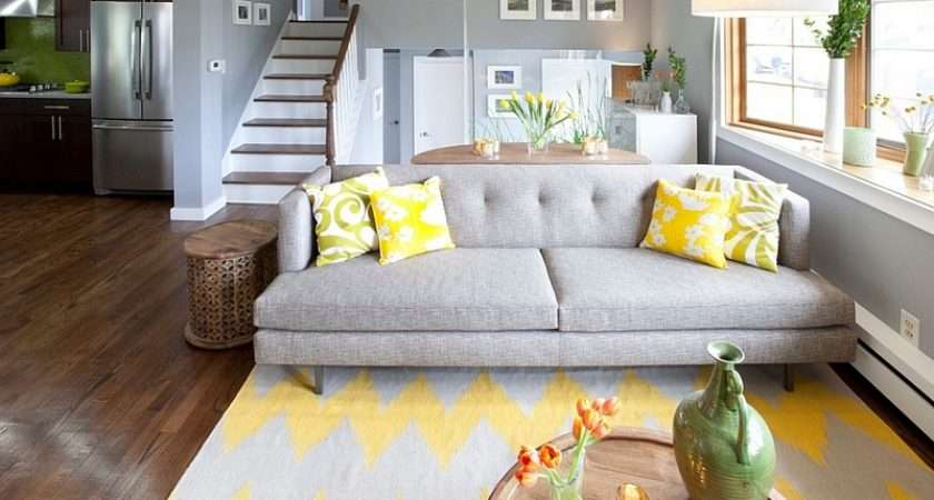 Gray Yellow Living Room Seems Both Cozy Contemporary