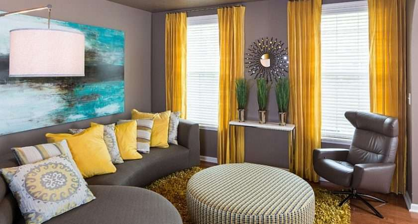 Gray Yellow Living Rooms Photos Ideas Inspirations