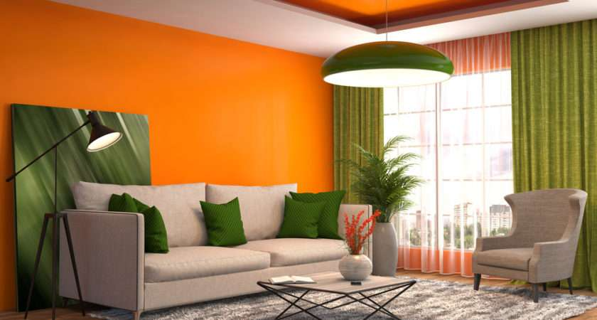 Green Orange Living Room Peenmedia