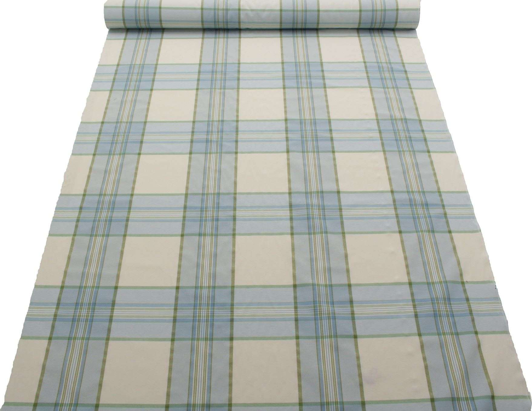 Green Tartan Window Pane Check Kitchen Gingham Cotton Curtain Fabric