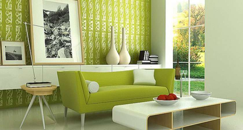 Green Wall Living Room Paint Interior Design Home