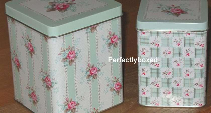 Greengate Set Tins Boxes Holly Dark Mint Vintage Christmas