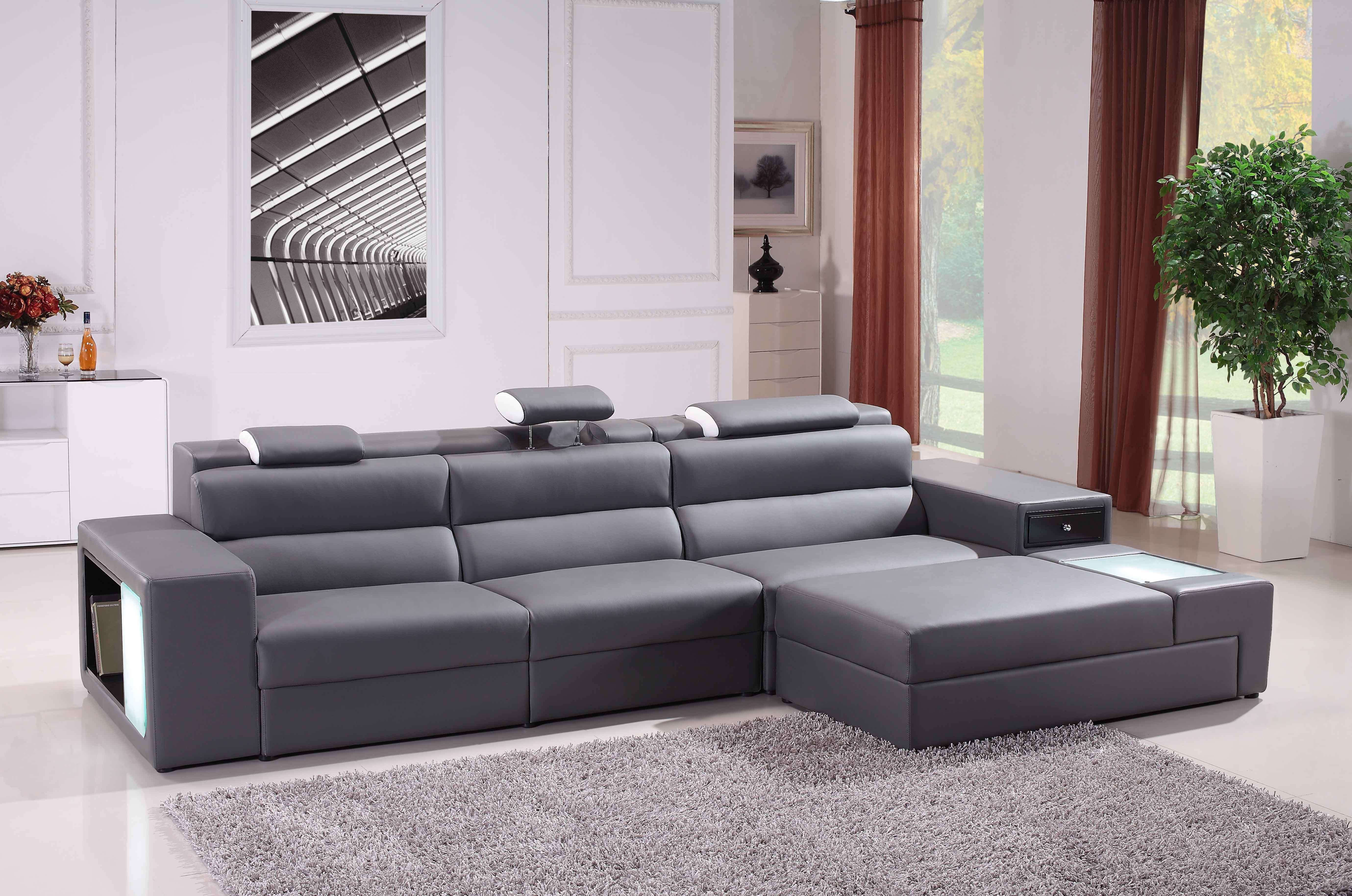 Grey Bonded Leather Sectional Sofa Modern Sofas Living Room