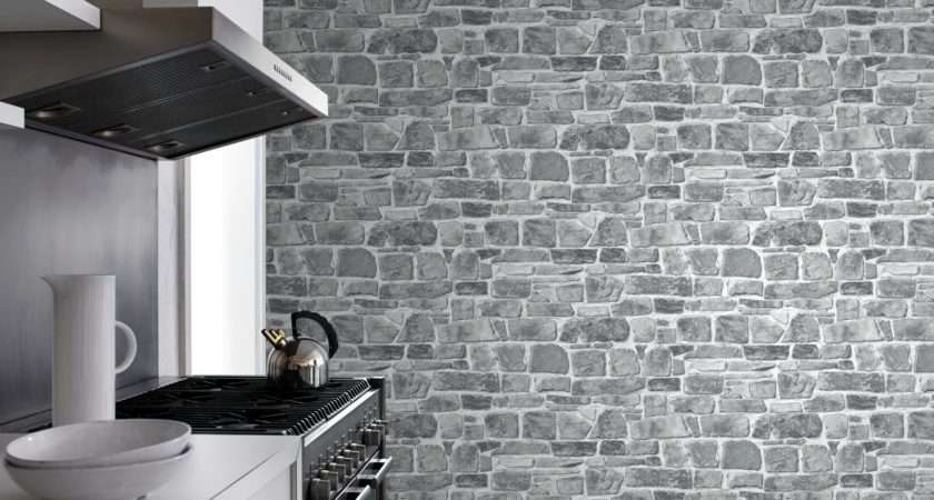 Grey Brick Effect Suitable Any Room Ebay