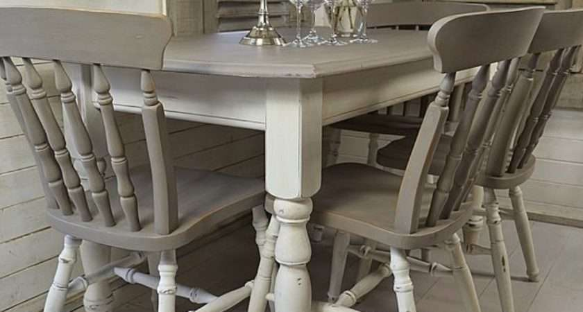 Grey White Shabby Chic Dining Table Chairs Artwork