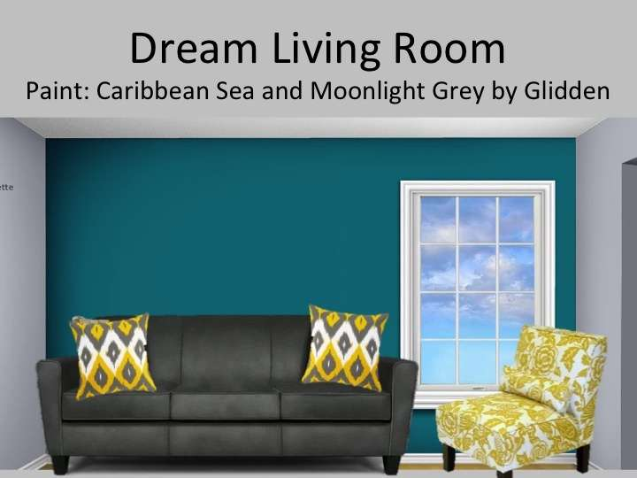 Grey Yellow Teal Living Room Light