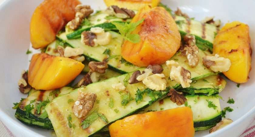 Grilled Peach Courgette Walnut Salad Coconut Berries