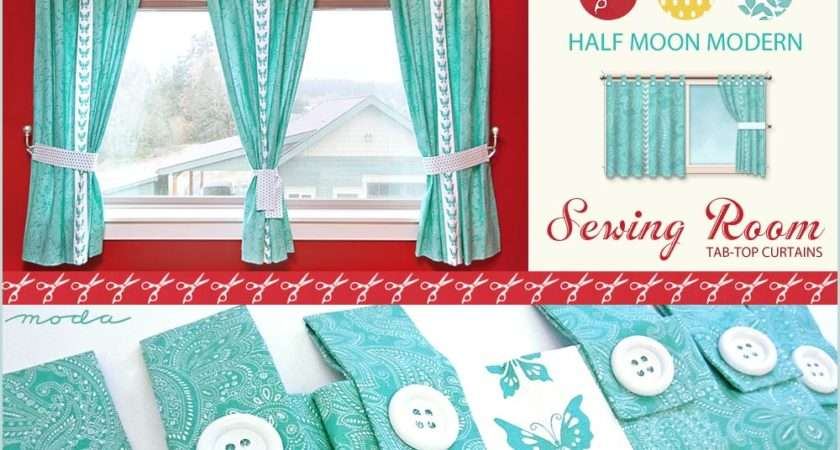 Half Moon Modern Sewing Room Tab Top Butterfly Curtains Sew Home