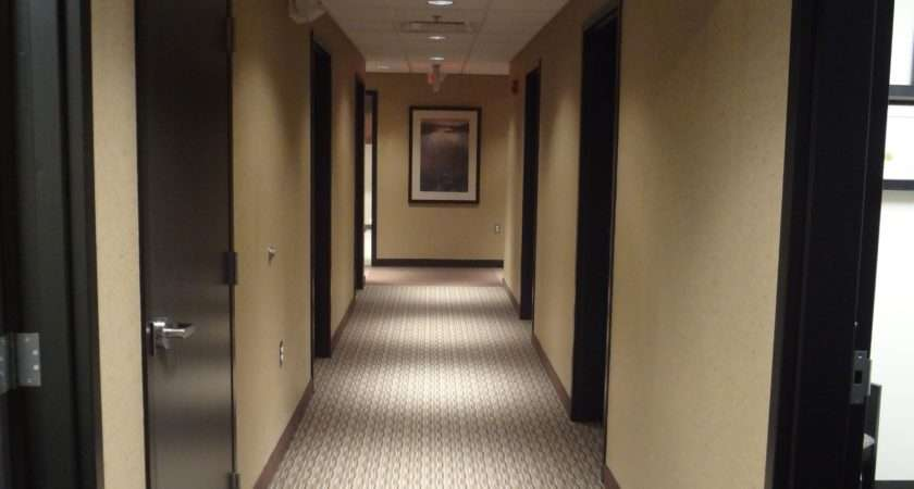 Hallway Medical Office Carpet Custom Stained Oak