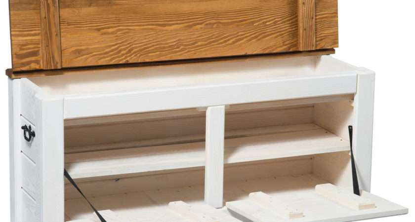 Hallway Storage Bench Shoe Cabinet White Wide