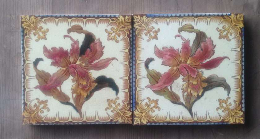 Hand Painted Floral Victorian Hearth Tiles