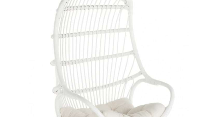 Hanging Rattan Swing Chair Seat Cushion White